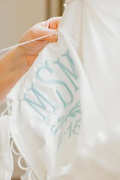 gorgeous monogram patch inside the #wedding gown | Amy Arrington