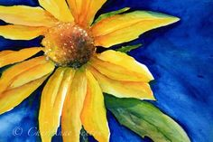 Sunflower on Blue Fine Art original watercolor by CheyAnneSexton