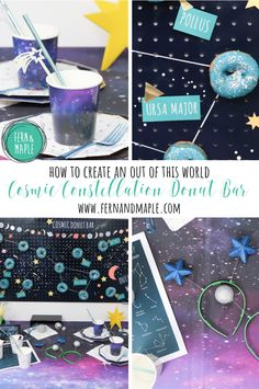 DIY Cosmic Constellation Donut Bar #partyideas #diy #donutbar #partythemes
