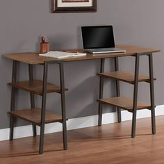 @Overstock.com - Metal and Wood Baxter Desk - This classic Baxter brown oak wooden desk features a weathered finish, giving the desk an antique, reclaimed look. The stately legs of this desk feature four convenient shelves for storage space and a powder-coated, scratch-resistant finish.  http://www.overstock.com/Home-Garden/Metal-and-Wood-Baxter-Desk/6713414/product.html?CID=214117 $179.99