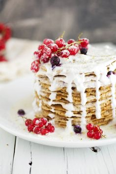 Pancakes with Berries and Cream.