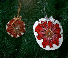 poinsettia sand dollar Christmas ornament!  Great idea for gifts for co-workers and family!