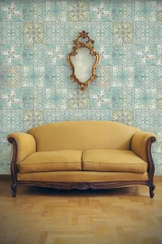Patchwork Jade wallpaper by Louise Body