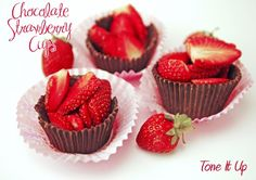 Chocolate Strawberry Cups! This oh-so-simple dessert is tasty, light and will make quite an impression! from Karena and Katrina at www.toneitup.com