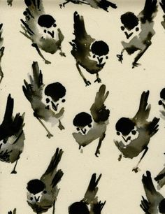luli sanchez, conversational prints, pattern, little birds, bird prints, textil, bird theme, lulisanchez, white ink