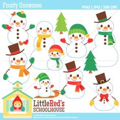 Clip Art: Frosty Snowmen - Winter-themed clipart set. For personal, educational and small-business use. $
