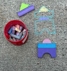 Four Foam Block Building Ideas - love this idea for building 'towers' on the ground. (not up!)