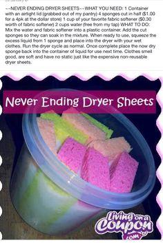 DIY dryer sheets in sponges!