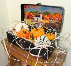 Easy Vintage Junk Fall Vignette  with Paint by number, tool box http://organizedclutterqueen.blogspot.com/2013/10/easy-fall-vintage-junk-decorating.html