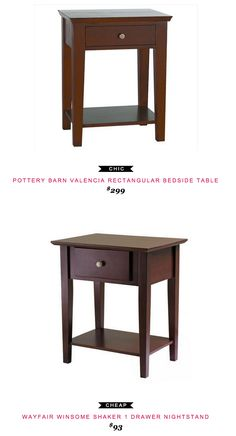 Pottery Barn Valencia Rectangular Bedside Table $299 vs Wayfair Winsome Shaker 1 Drawer Nightstand $93