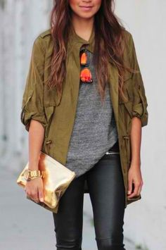 Utility Jacket + Gray Tee + Leather Skinny Pants + Envelope Clutch