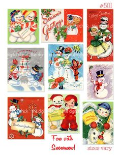 Digital Clipart Vintage Snowman couples holly by TheDigitalChick, $2.25