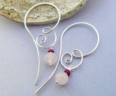 rose quartz, garnet earring, earring garnet, quartz earring, ear wire, earring sterl