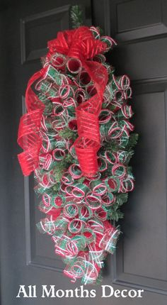 Christmas Deco Mesh Swag Wreath Bendable Mailbox by AllMonthsDecor
