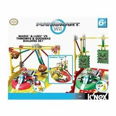 "Knex MarioKart Wii Mario and Luigi VS Goombas and Thwomps Building Set by Nintendo. $86.95. Ages 6+. Buildable Thwomps and Goombas obstacles provide swinging, slamming action.. 260-piece set includes: Mario, Luigi, greet turtle shell, banana, mushroom, star, building pieces & instructions. Requires 4 ""AAA"" batteries (not included). Interconnectable track creates a closed loop.. K'NEX toys bring MarioKart Wii to life. Featuring battery-powered Karts and buildable Thw..."