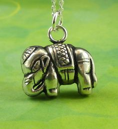 Elephant Jewelry Charm Necklace Sterling by maidstonelanejewelry, $30.00