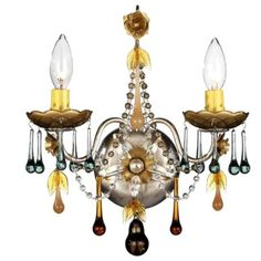 Autumn Crystal and Antique Silver Two Light Sconce