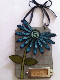 Crafty Thoughts: I dream of flowers! thoughts, grunge, greet card, dreams, tag, paper art, sizzix flower, flowers, crafti thought