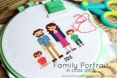 Cross Stitch Family Portrait #2 {free pattern}