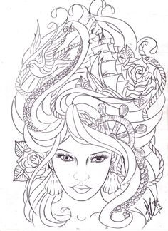 maritime hair tattoo sketch by *Nevermore-Ink on deviantART  I love these type drawings..comes in a close second to my favourite