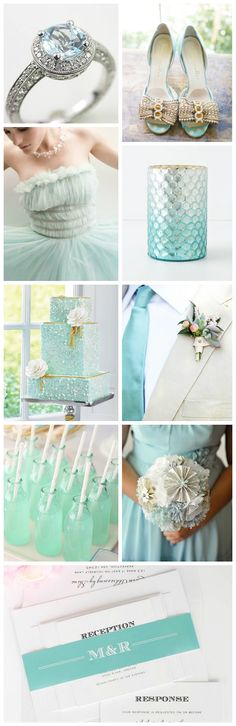 We've put together an inspiring aquamarine collage to help give you some ideas on how to use our antique vintage wedding invitations. This invitation is simple, but a pop of color in the belly band can really tie in your color scheme! Aquamarine in key places, like the invites and stationery, gives your wedding a classic and elegant feel with a light and airy color.
