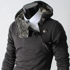 (4BH-CHARCOAL) Mens casual luxury buckle hoodie slim sweatshirts CHARCOAL