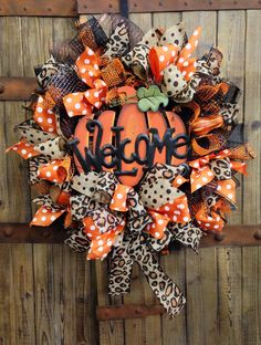 Wild about fall mesh wreath on Etsy, $95.00