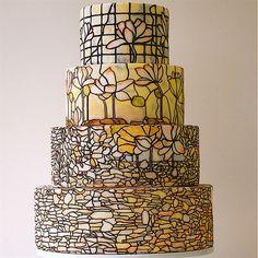 Tiffany Lamp Inspired Watercolor Cake