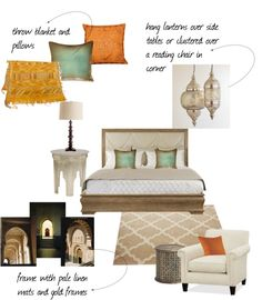 Elegant Moroccan Bedroom, created by katie-newell-1 on Polyvore