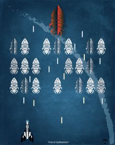 """Mass Effect """"This Is Normandy"""" Space Invaders Fan Art Poster by Rameez Quadri"""
