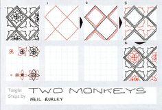 Two Monkeys – tangle pattern, Neil Burley