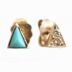 mismatched turquoise and diamond studs - mociun
