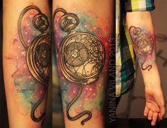 tattoo idea, arm tattoos, watercolor tattoos, tattoo artists, background, doctor who, pocket watches, yanina viland, ink