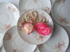 Vintage Haviland Limoges Pink Green Floral Saucers by jenscloset, $22.50