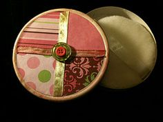 Laughing Cow cheese box upcycled into a box for body powder and a powder puff, summer essentials for me.