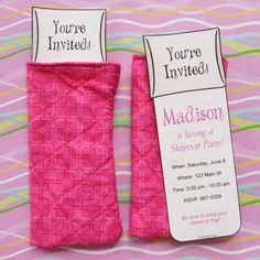 Perfect sleeping bag invitation for a sleepover party. Change the fabric out to make it great for boys too!