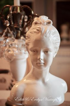 Vintage French Girl Houdon Bust Statue White by edithandevelyn