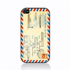 Vintage Airmail envelope iPhone cover by Case Sera Sera!