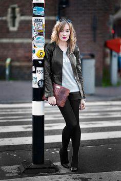 Leather jacket and shorts.