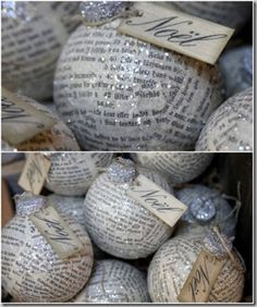 pretty newspaper ornaments - would be neat to use old hymns for paper.