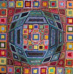 Textile Wall Hanging Victor Vasarely multicolor by VerenaGItaly, €650.00
