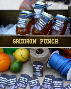 Gridiron Punch!  We've found your easy, go-to drink for the entire football season. Mix this up in a big batch, pour into jars and chill on ice!