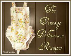 Vintage Pillowcase Romper - Upcycle - Refashion