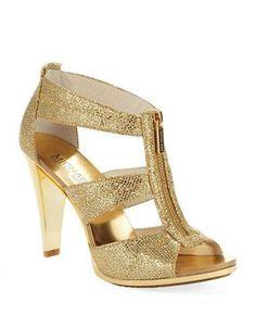 Michael Kors Berkley T-strap Heels #gold #highheels #shoes #sandals