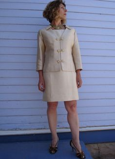 Vintage 1960s Silk Suit Cream Jackie Onassis Style by bycinbyhand, $145.00