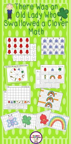 Sharing Kindergarten: That Old Lady Swallowed a Clover... fun math activities