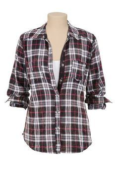 Lace Trim Plaid Button Down Shirt (original price, $34) available at #Maurices