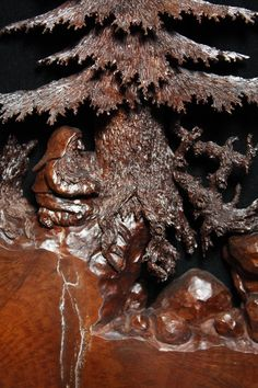 Wood sculpture wood carving carved Elf Carved Bear by treewiz, 3,000.    Amazing!!!