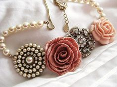 pink roses, statement necklaces, vintage, pearls, jewelry accessories, flowers, inspiring pictures, fashion necklace, chunky necklaces