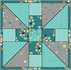 Pinwheel variation quilt block #quilt #block #pinwheel